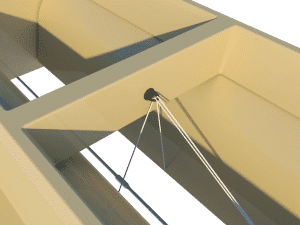 Ventilation for poultry and pig housing - ceiling inlet 220-P nylon cords - TPI-Polytechniek