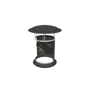 Exhaust Chimney with Rain Cap and Dampner in Black - TPI-Polytechniek